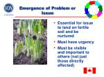 emergence of problem or issue