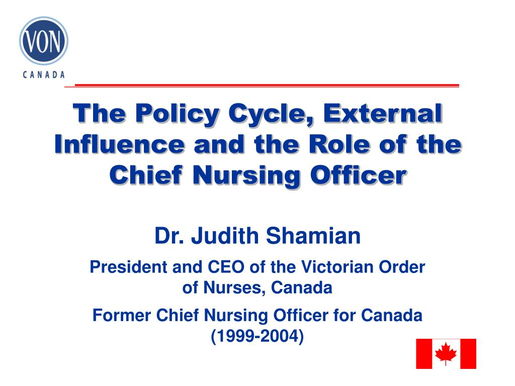 the policy cycle external influence and the role of the chief nursing officer l.