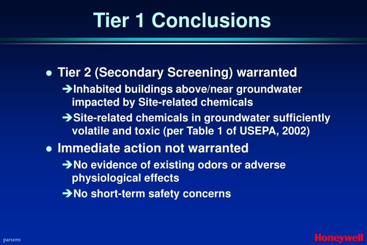 Tier 1 Conclusions