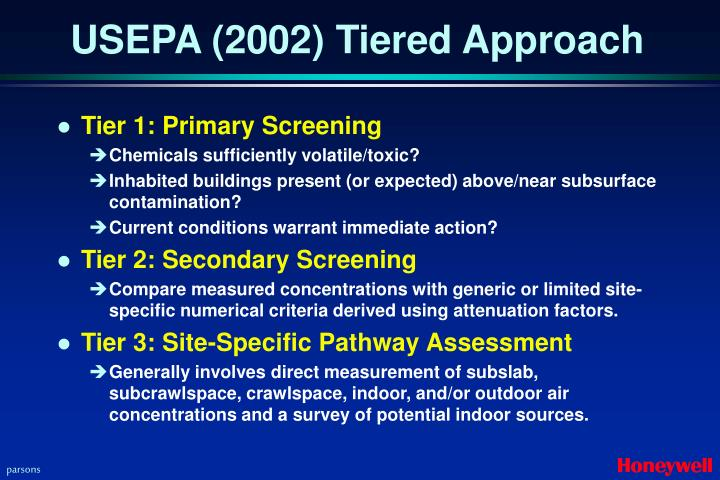 Usepa 2002 tiered approach