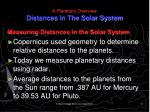a planetary overview distances in the solar system