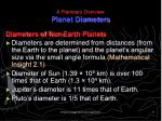 a planetary overview planet diameters