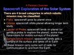 a planetary overview spacecraft exploration of the solar system1