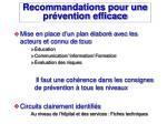 recommandations pour une pr vention efficace