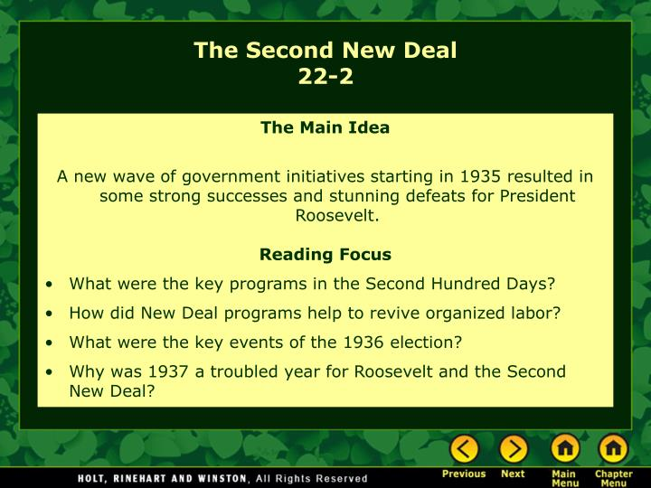 an essay that explains the second new deal An evaluation of the new deal at the time of its construction during the great depression, the hoover dam was the largest in the world to this day, it uses the power of the colorado river to electrify the region.