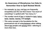 an awareness of morphemes can help us remember how to spell related words