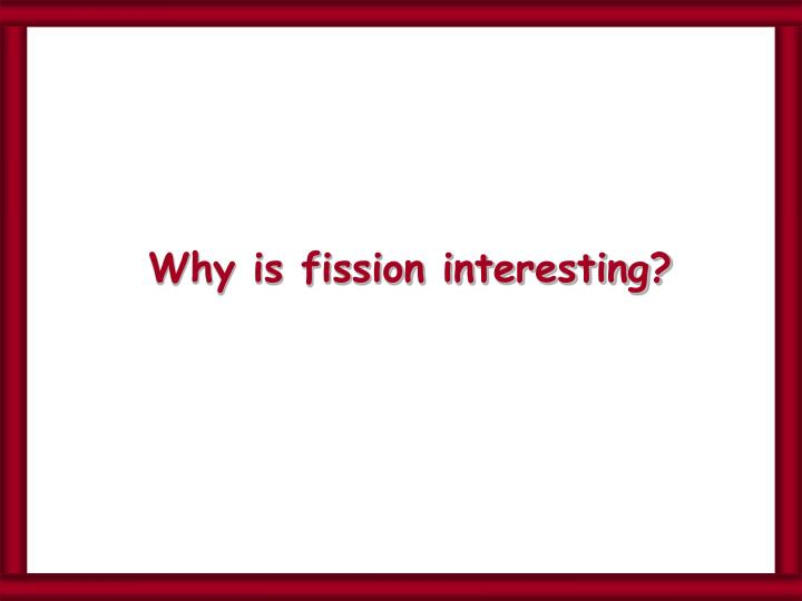 Why is fission interesting