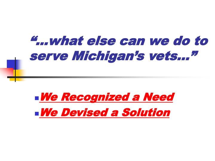what else can we do to serve michigan s vets n.