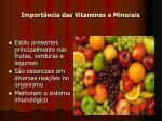 import ncia das vitaminas e minerais
