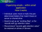 organizing emails within email application how it works