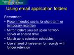 using email application folders