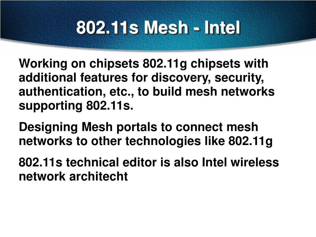 802.11s Mesh - Intel