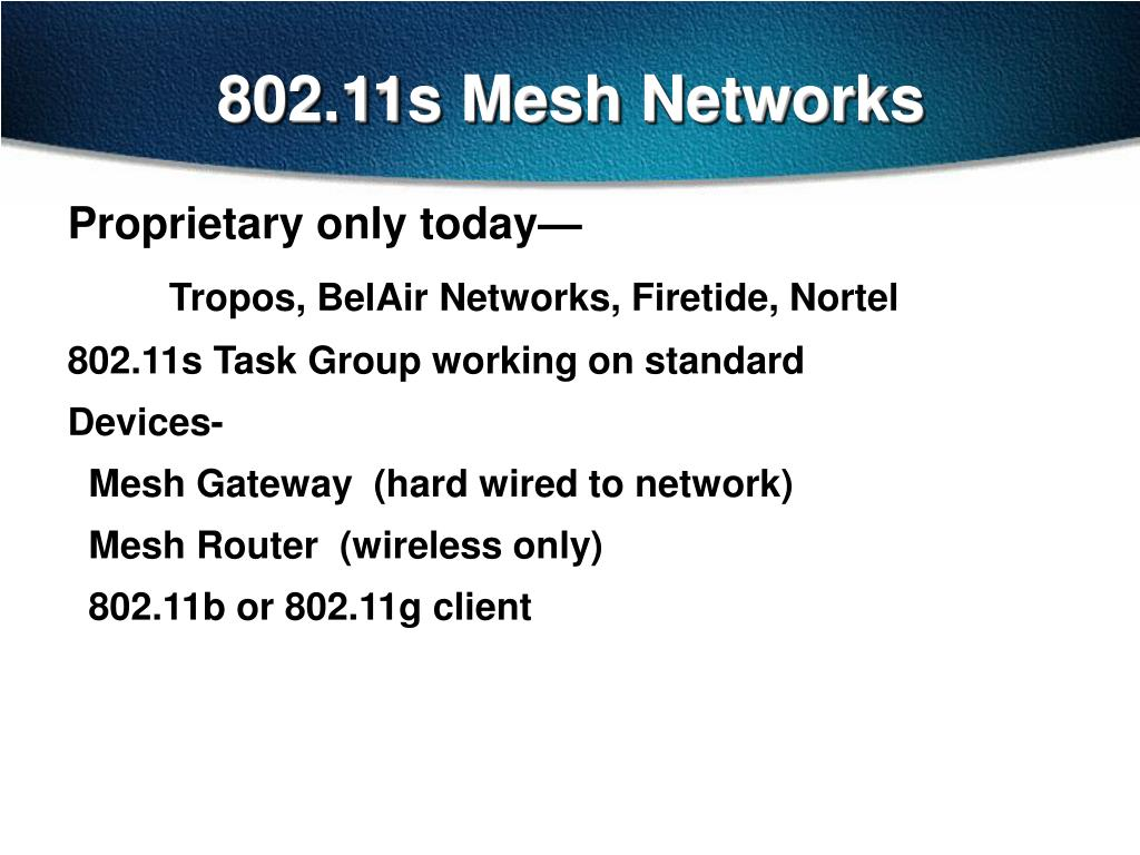 802.11s Mesh Networks