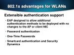802 1x advantages for wlans