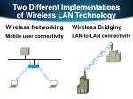 two different implementations of wireless lan technology