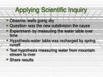 applying scientific inquiry