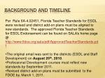 background and timeline