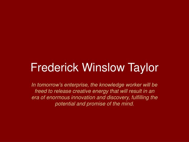 frederick winslow taylor n.