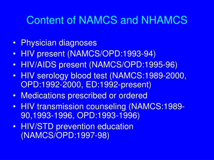 Content of NAMCS and NHAMCS