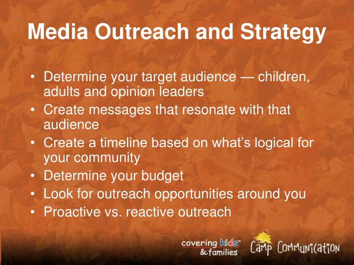 Media Outreach and Strategy