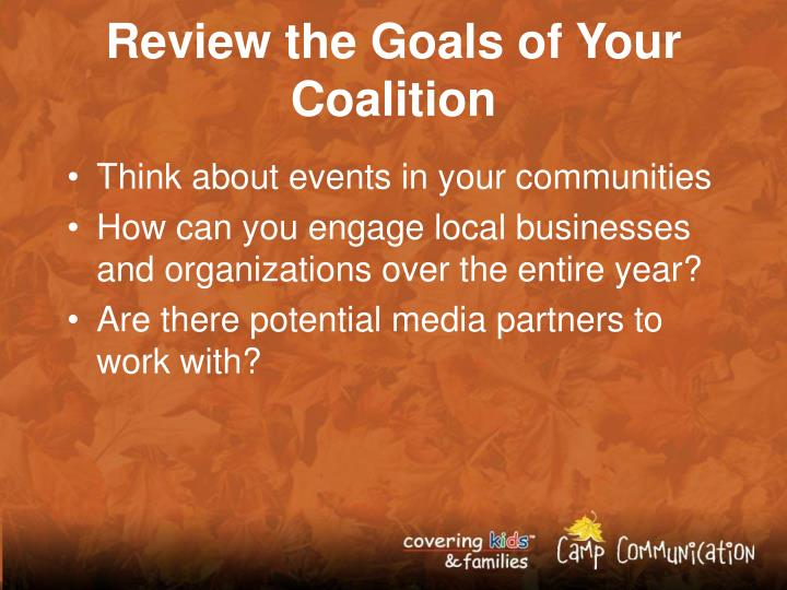 Review the Goals of Your Coalition