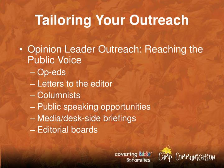 Tailoring Your Outreach