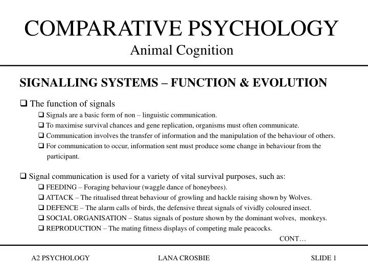 comparative psychology animal cognition n.
