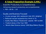 a value proposition example lanl