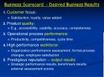 business scorecard desired business results