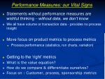 performance measures our vital signs