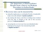 the importance of hard evidence results from a survey on workout procedures in italian banks1
