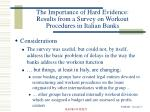 the importance of hard evidence results from a survey on workout procedures in italian banks11