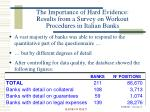 the importance of hard evidence results from a survey on workout procedures in italian banks5