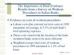 the importance of hard evidence results from a survey on workout procedures in italian banks9