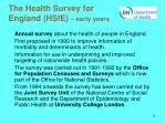 the health survey for england hsfe early years
