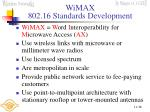wimax 802 16 standards development