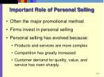 important role of personal selling