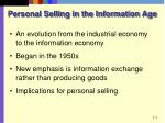 personal selling in the information age