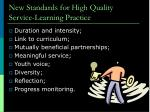 new standards for high quality service learning practice