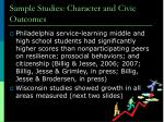 sample studies character and civic outcomes