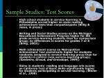 sample studies test scores