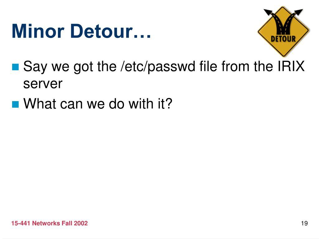 Minor Detour…
