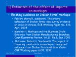 1 estimates of the effect of imports on markups1