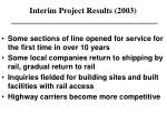 interim project results 2003