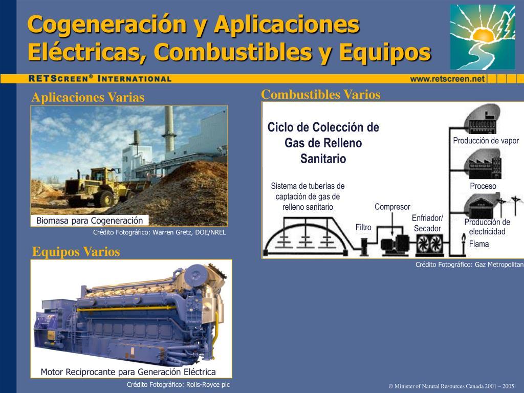 Cogeneración y Aplicaciones Eléctricas, Combustibles y Equipos
