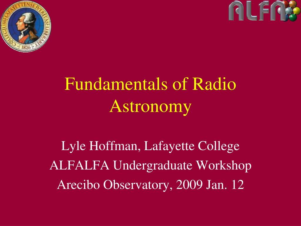 lyle hoffman lafayette college alfalfa undergraduate workshop arecibo observatory 2009 jan 12 l.