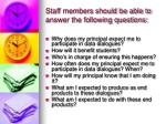 staff members should be able to answer the following questions