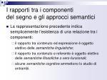 i rapporti tra i componenti del segno e gli approcci semantici