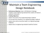 maintain a team engineering design notebook2