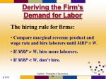deriving the firm s demand for labor24